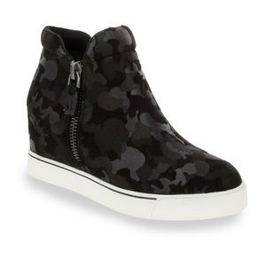 Black Camo wedge sneakers